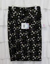 LuLaRoe M Black White Floral UNICORN Cassie Stretchy Pencil Skirt Sz 10 12 NEW