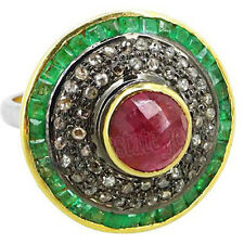 2.50ct Rose Cut Diamond Ruby & Emerald .925 Sterling Silver Cocktail Ring