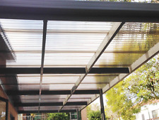 Pergola Kit 7m×4m Polycarbonate Roof, Wall Attached
