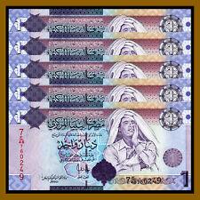 Libya 1 Dinar x 5 Pcs, ND 2009 P-71 Muammar Gaddafi Unc