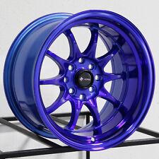 15x9 Vors TR3 4x100/4x114.3 0 Candy Purple Blue Wheels Rims Set(4)