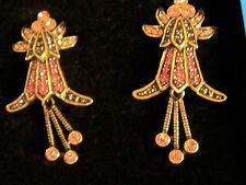 NEW HEIDI DAUS STUNNING FLORAL PINK CRYSTAL ART DECO DANGLE CLIP EARRINGS