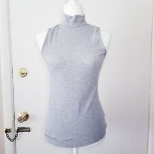 Athleta Tank Top High Neck Grey Ribbed Small Shirt Turtle Neck