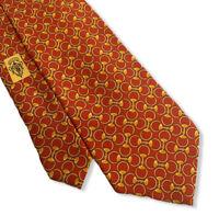 "Gucci Men's Red Interlocking Chain Horsebit Links 100% Silk Tie 3.75"" Width Mint"