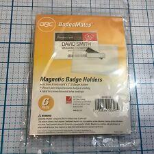 "NIP GBC BadgeMates 3 Touch Point Magnet Badge Holders  6 Pack - Horizontal 3""x4"""