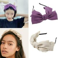 Women Lady Big Bowknot Ribbon Hair Accessory Headband Head Band Bow Clips F6A7