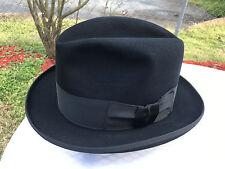 Vintage Dobbs Homburg Fedora Hat 7 1/2 LO Black Fur Felt Unique Brim Binding!