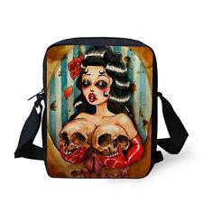 Fashion Messenger Bag Handbag Women Girls Casual Shoulder Purse Cool Skull Print