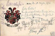 10544/ Wappenkarte Burchenschaft Rugia Berlin, 1921