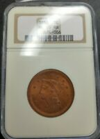 1850 NGC MS65RB Braided Hair Large Cent 1c Gem Uncirculated Old Holder Red Brown