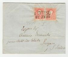 STORIA POSTALE 1859 LOMBARDO VENETO 5 SOLDI 2 VALORI TREVISO 10/2 D/3536