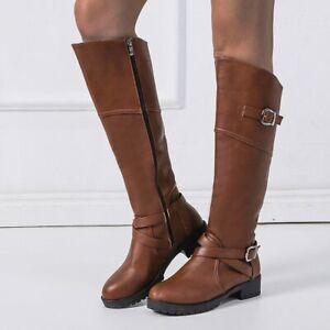 Womens Block Heels Knee High Boots Buckle Side Zip Round Toe Combat Knight Shoes