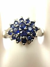14K White Gold 0.45ct Natural Blue Sapphire Cluster Ring