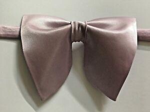 Handmade Oversized Dawn Pink Mauve Satin Bow tie Vintage style 70s Wedding Prom