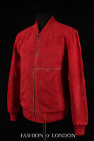 Men's PLAIN SEVENTIES BOMBER Red Suede Classic 70's Short Hide Leather Jacket