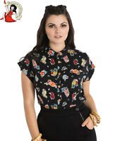 HELL BUNNY PINA COLADA SHIRT 50s style rockabilly BLACK summer TOP XS-4XL