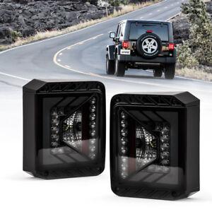 Xprite Black LED Tail Light with Smoke Lens For Jeep Wrangler JK JKU 2007 - 2018