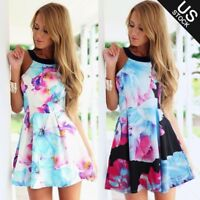 Summer Beach Women's Celeb Floral Print Sleeveless Club Evening Ball Party Dress