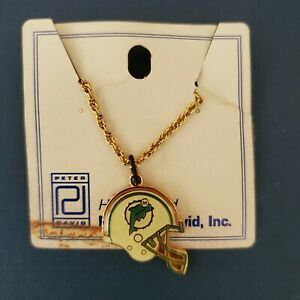 """MIAMI DOLPHINS """"HELMET NECKLACE""""  PETER DAVID  NEW / OLD STOCK  LOOK!!"""