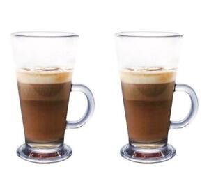 270ml Set of 2 4 6 Latte Glasses Tea Coffee Cappuccino Glass Cups Hot Drink Mugs