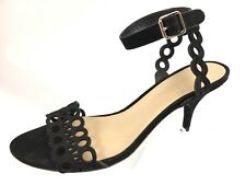 SH27 Loeffler Randall 9B Black Nubuck Leather Laser Cut Ankle Strap Sandal Heels