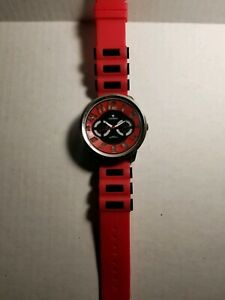 MEN'S ICE KING Red/Black SILICONE BAND  WATCH