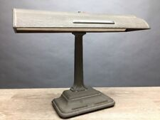 Vintage Cast Iron Art Deco Bankers Desk Lamp Gray Brown Crinkle Paint Works