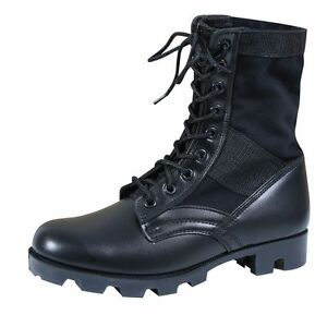 """BLACK Jungle Boots-8"""" Military Style Tactical Leather  ROTHCO 5081 Sizes 13 &15"""
