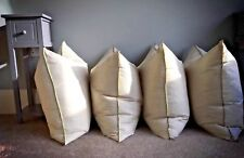 22 x 22.  4 Feather and Down cushion inserts. Made in our own Workshop