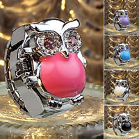 AM_ WOMEN SHINY RHINESTONE OWL CASE STAINLESS STEEL ELASTIC FINGER RING WATCH SM