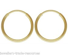1x Pair 16mm 14ct Gold Filled Round Hoop Sleeper Earrings