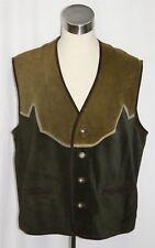"ITALY LEATHER Men VEST Waist Coat Jacket Winter Bavarian Hunting Western C50"" XL"