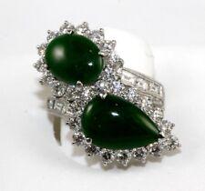 14.0Ct Riesiges Oval & Tropfenschliff Jade & Diamant Umgehen Ring Platin Kein