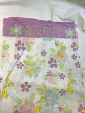 Tinkerbell Twin Size Top Flat Sheet Disney Fairies Floral Fabric Sewing Craft