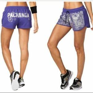 NEW Zumba Fitness Womens La Pachanga Shorts Purple Silver Sizes L & XL (B226)