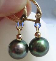 New 9-8mm AAA black green natural Tahitian pearl Dangle earrings 14k