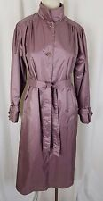 Womens Jennifer Hill Shiny Wet Look Belted Tie Sash Long Trench Coat 6 Rose Pink