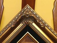 Gold Leaf Wood Antique Picture Frame Black Liner B5Gb