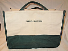 NEW LEHMAN BROTHERS Large Green and Natural Canvas Tote Bag- Beach! Shopping!