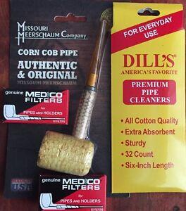 "Missouri Meerschaum ""STRAIGHT"" Corn Cob Pipe Dill's Cleaners & Medico Filters"