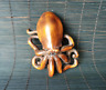 Collect Japanese natural boxwood carving Lovely octopus statue Netsuke figurines