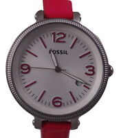FOSSIL HEATHER HOT PINK LEATHER BAND+SILVER TONE OVERSIZE DIAL WATCH ES3277