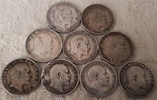 Edward VII ThreePence 1902-1910 Full Year Run 10 Silver Coins Set Lot 1