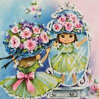 Vintage Mid Century Greeting Card Cute Little Girl Pretty Dress Tries Flower Hat