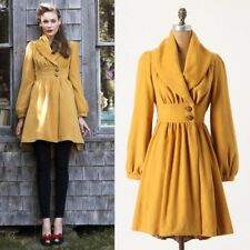 Anthropologie Tracy Reese Ruched Marigold Coat Sz M Beautiful EUC