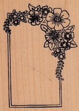 """flower border holly Wood Mounted Rubber Stamp 2 1/2 x 3""""  Free Shipping"""