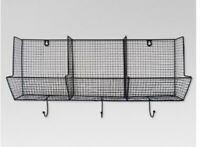 "Wire Basket with Hooks 3-Slot (12""X24"") - Threshold™ Wallhung~ coat hooks NEW"