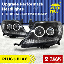 Black DRL HALO Angel Eye Headlights to suit Toyota Hilux 2005-2011 Projector OZ