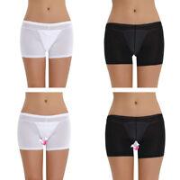 Womens Lingerie See-through Dream Boyshort Panties Sheer Boxer Briefs Underwear