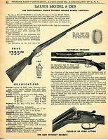 1956 Print Ad of Sauer Model 8 VIII DES Beavertail Forearm Shotgun